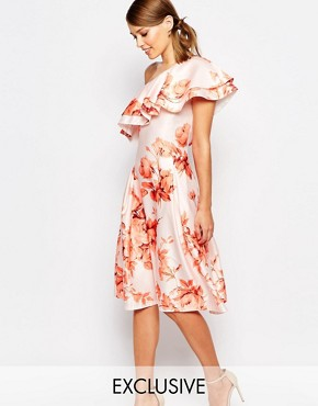 photo Sateen Prom Dress with Ruffle Shoulder by True Violet, color Autumn Floral - Image 1