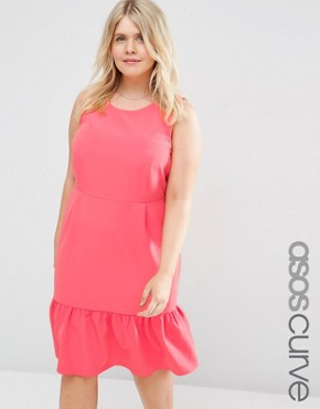 photo Midi Pencil Dress with Frill Hem by ASOS CURVE, color Coral - Image 1
