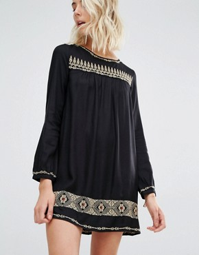 photo Rene Long Sleeve Embroidered Mini Dress by Gat Rimon, color Noir - Image 1