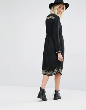 photo Lori Long Sleeve Embroidered Dress by Gat Rimon, color Noir - Image 2