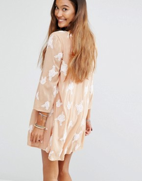 photo Sheer V Neck Dress with Embellishment by Honey Punch, color Nude - Image 2