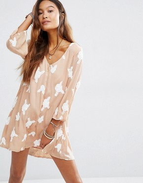 photo Sheer V Neck Dress with Embellishment by Honey Punch, color Nude - Image 1