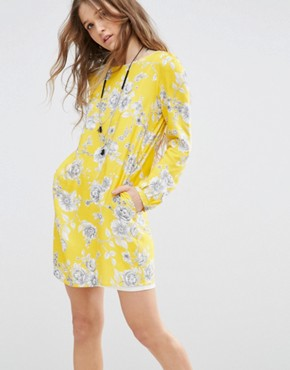 photo Swing Dress in Floral Print by Honey Punch, color Yellow - Image 1