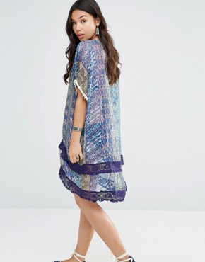 photo Printed Silk Hi Lo Oversized Dress by Gypsy 05, color Jaipur Navy Multi - Image 2