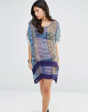 photo Printed Silk Hi Lo Oversized Dress by Gypsy 05, color Jaipur Navy Multi - Image 1