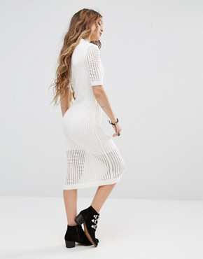 photo Bodycon Midi Dress in Mesh by Honey Punch, color Cream - Image 2