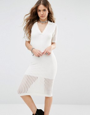 photo Bodycon Midi Dress in Mesh by Honey Punch, color Cream - Image 1