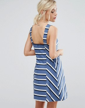 photo Stripe Pinafore Dress by Oasis, color Multi Blue - Image 2