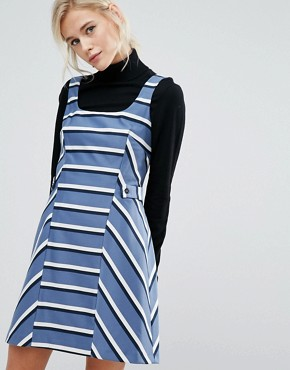 photo Stripe Pinafore Dress by Oasis, color Multi Blue - Image 1