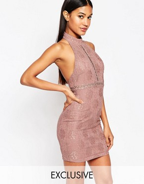 photo Lace Pencil Dress with High Neck by NaaNaa, color Dusky Violet/Taupe - Image 1