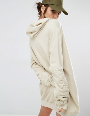 photo Oversized Hoodie Dress with Rope Ties by Jaded London, color Ecru - Image 2