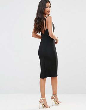 photo Plunge Neck Ribbed Dress with Strappy Back by Rare, color Black - Image 2