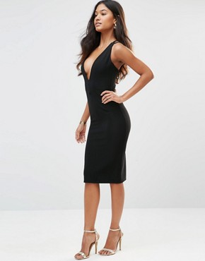 photo Plunge Neck Ribbed Dress with Strappy Back by Rare, color Black - Image 1
