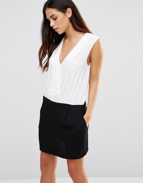 photo Mono colourblock Dress with Tux Front by See U Soon, color Off White/Black - Image 1