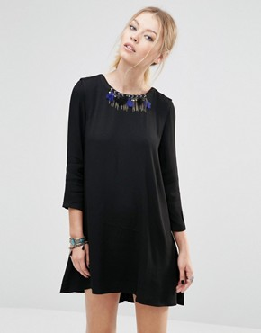 photo Shift Dress with Necklace Detail by See U Soon, color Black - Image 1