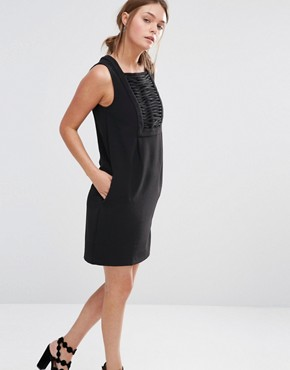 photo Shift Dress with Lattice Front by See U Soon, color Black - Image 1