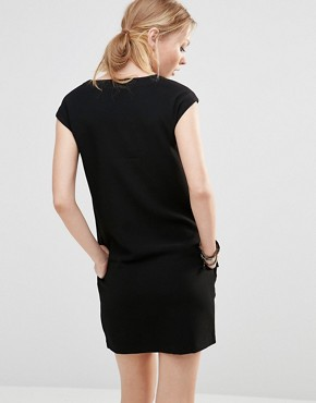 photo Shift Dress with Embroidered Front by See U Soon, color Black - Image 2