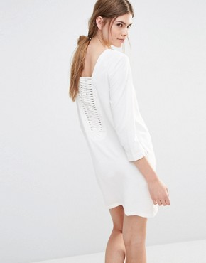photo Shift Dress with Lattice Back by See U Soon, color Off White - Image 1