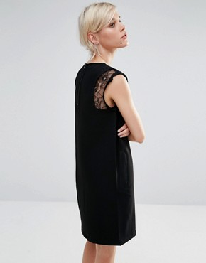 photo Shift Dress with Lace Detail by See U Soon, color Black - Image 2
