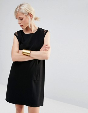 photo Shift Dress with Lace Detail by See U Soon, color Black - Image 1