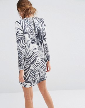 photo Shift Dress in Zebra Print by See U Soon, color Off White/Black - Image 2