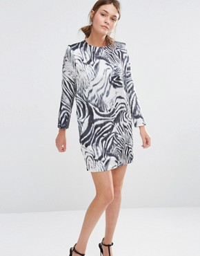photo Shift Dress in Zebra Print by See U Soon, color Off White/Black - Image 1