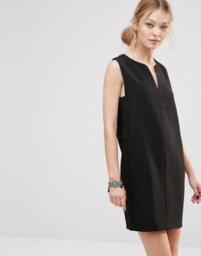 photo Shift Dress with Open Neck by See U Soon, color Black - Image 1