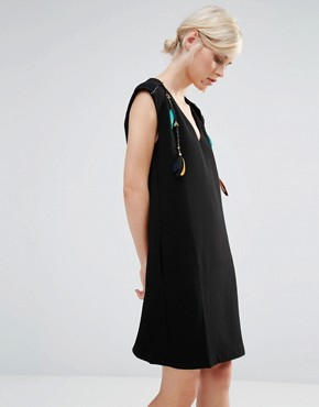 photo Shift Dress with Feather and Beaded Detail by See U Soon, color Black - Image 1