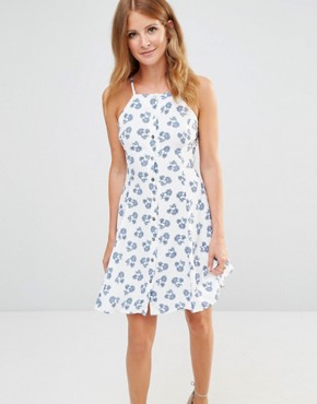 photo Button up Mini Dress in Ditsy Floral Print by Millie Mackintosh, color Blue - Image 1