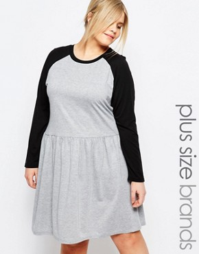 photo Contrast Raglan Jersey Skater Dress by One Day Plus, color Grey - Image 1
