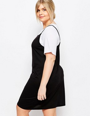 photo 2-in-1 Contrast T-Shirt Dress by One Day Plus, color Black - Image 2