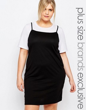 photo 2-in-1 Contrast T-Shirt Dress by One Day Plus, color Black - Image 1