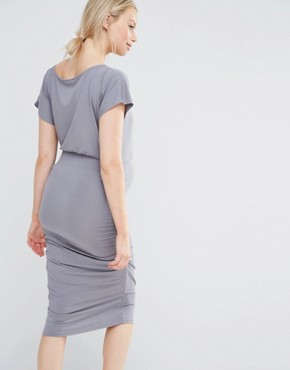 photo Short Sleeve Ruched Bodycon Dress by Isabella Oliver, color Grey - Image 2