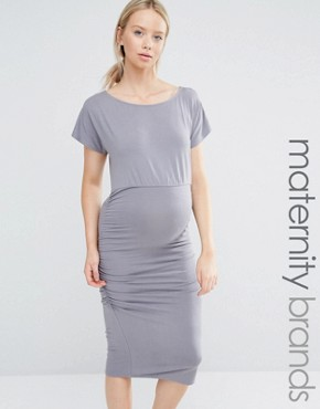 photo Short Sleeve Ruched Bodycon Dress by Isabella Oliver, color Grey - Image 1