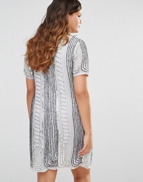 photo All Over Embellished Shift Dress by Lovedrobe Luxe, color Grey - Image 2
