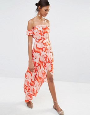 photo Bella Floral Print Maxi Dress by Flynn Skye, color Red - Image 1