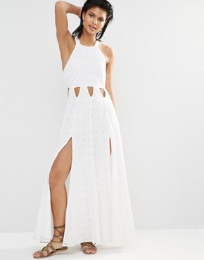 photo Duchess Side Split Maxi Dress by Tularosa, color Milk - Image 1