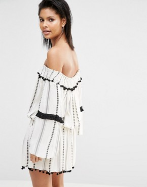 photo Jacqueline Off Shoulder Dress by Tularosa, color Ivory Stripe - Image 2