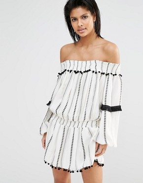 photo Jacqueline Off Shoulder Dress by Tularosa, color Ivory Stripe - Image 1