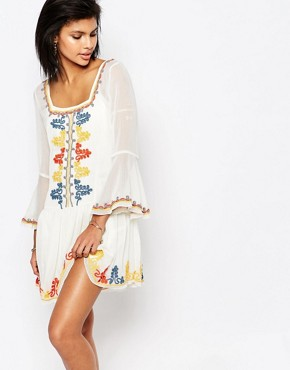 photo Creseda Embroidered Dress by Tularosa, color Butter - Image 1