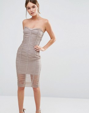 photo Wedding Forget Me Not Ruched Bandeau Dress by Body Frock, color Taupe - Image 1