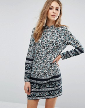 photo Paisley Print Shift Dress with Open Front & Back by Rollas, color Floral - Image 1