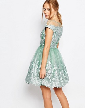 photo Off Shoulder Mini Prom Dress with Embroidered Lace by Chi Chi London, color Sage Green - Image 2