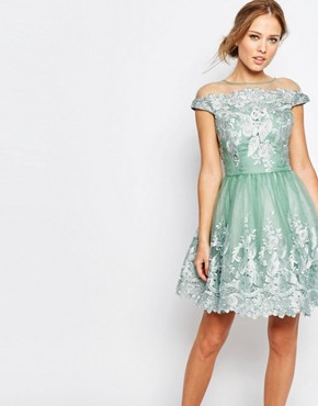 photo Off Shoulder Mini Prom Dress with Embroidered Lace by Chi Chi London, color Sage Green - Image 1