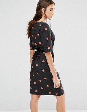 photo My Tie Strawberry Print Dress by Trollied Dolly, color Black - Image 2