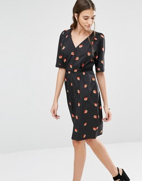 photo My Tie Strawberry Print Dress by Trollied Dolly, color Black - Image 1