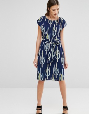 photo Elastic Fantastic Cactus Print Dress by Trollied Dolly, color Blue - Image 1