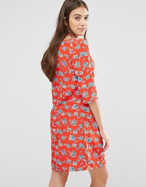 photo Gift Of A Shift Floral Print Dress by Trollied Dolly, color Orange - Image 2