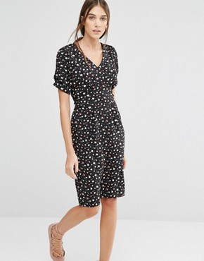 photo Dip and Dazzle Daisy Print Dress by Trollied Dolly, color Black - Image 1