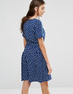 photo Heart Print Drop Dead Gorgeous Dress by Trollied Dolly, color Navy - Image 2